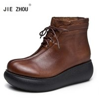 Wholesale brown lace up wedge boots resale online - Fashion rear zipper wedges shoes woman high heel platform genuine leather ankle boots women Retro Lace up light motorcycle boots women Shoes