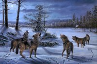Wholesale wolf landscape paintings for sale - Group buy Landscape Art Wolves In The Snow Oil Painting Reproduction High Quality Giclee Print on Canvas Modern Home Art Decor