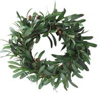 corona colgante para la boda al por mayor-Guirnalda de hoja de olivo Adornos de Navidad Rama Guirnalda Puerta de paja Colgando Guirnalda Decoración de la boda Flores artificiales de lujo