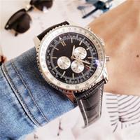 relojes de lujo navitimer al por mayor-De calidad superior Navitimer para hombre reloj de lujo 46 mm correa de cuero genuino hombres diseñador de lujo movimiento automático Mechnical todo reloj de trabajo de dial