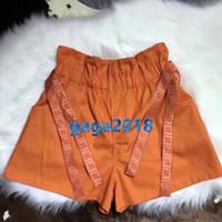 elastische bänder benutzerdefinierte großhandel-Frauen Vintage Tasche Lose A-Line Shorts Mit Buchstabenband Die High-End-Custom Mädchen Elastische Taille Mini Shorts Sommer Runway Sommer Shorts
