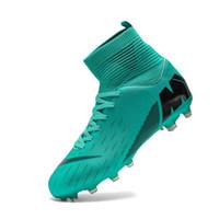 espigas de fútbol sala al por mayor-Hombres fútbol Botas de fútbol cargadores de las grapas largas espigas TF Spikes tobillo top zapatos de los niños suave cubierta de césped de fútbol Zapatos de Fútbol Sala