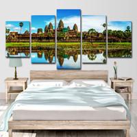 ingrosso bella tela di canapa-Tela Wall Art Immagini Astratte Home Decor 5 Pezzi Angkor Monumenti Bakong Belle viste Pittura HD Poster stampato