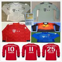 b9b55c3adaa Wholesale neuer goalkeeper jersey online - 2018 Munich Long Sleeve Bayern  Soccer Jerseys JAMES LEWANDOWSKI MULLER