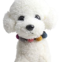 Wholesale small dog collars tags resale online - Dog Puppy Cat Choker Necklaces Collar with Plush Ball Pet Tag Durable Adjustable Collar For Small Medium Large Dogs New