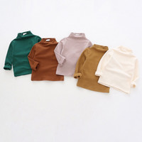 Wholesale high kids clothes for sale - Group buy DUDU INS Spring Autumn Kids Girls Cotton Blank Tshirts Children High Neck Cotton Soft Tops Tees Designer INS Child Boys Clothing Outfits