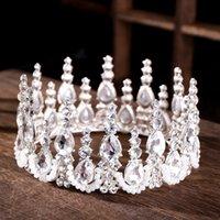 coroas redondas para noivas venda por atacado-Luxo Prata Grande Rodada Coroas De Cristal Tiara Rainha Mulheres Diadema Para O Casamento Acessórios Para o Cabelo Nupcial Banda Cabeça Noiva Cabelo Jóias