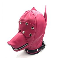 Wholesale blindfold bdsm game for sale - Group buy New Adult games cosplay horse headgear leather bondage bdsm fetish slave blindfold mask cap head restraints hood sex toys products