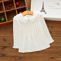Wholesale peter pan short sleeve online – design Fall Girls T shirts Long Sleeve White Peter Pan Collar Toddler Kids Girls Basic Shirts Tops Tee Cotton Clothes Y BC493