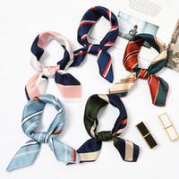 New Elegant Women Square Silk Head Neck Satin Scarf Skinny Retro Hair Tie Band Small Fashion Square Scarf 40 colors A001