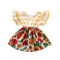 meninas vestido listrado amarelo venda por atacado-0-4 anos bebê meninas vestido vermelho girassol impressão dress para meninas amarelo listrado patchwork roupas de verão do bebê