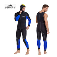 f8a92c8228 SBART 3MM Men s Wetsuit Keep Warm Surf Clothes Two Pieces Snorkeling Suit  with Hood Neoprene Spearfishing Suit Winter Swimsuit