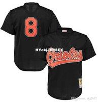 jersey negro de baltimore al por mayor-Barato MITCHELL NESS BALTIMORE # 8 RIPKEN la práctica de bateo malla negra para hombre JERSEY retrocesos cosida camisetas de béisbol