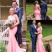 Wholesale romantic champagne prom dress for sale - Group buy 2019 Romantic Pink Halter Zipper Mermaid Prom Dress High end Customed Made Vestidos De Novia Party Gown