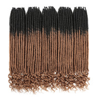ingrosso estensioni ciocche di capelli-Faux Locs Crochet Braids 20 pollici Soft Natural Kanekalon Extension capelli sintetici 18 Stand / Pack Goddess Locks