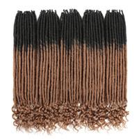 trava de extensão venda por atacado-Faux Locs Tranças De Crochê 20 Polegada Suave Natural Kanekalon Extensão Do Cabelo Sintético 18 Stands / Pack Locks Deusa