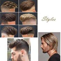 dantelli toupee toptan satış-İnsan Saç Dayanıklı Hairpieces Erkekler Için Dantel Ince PU Değiştirme Sistemi Toupees İnsan Saç Dayanıklı Hairpieces Dantel PU