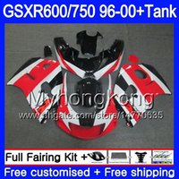 ingrosso rosso nero gsxr-Bodys + Tank Per SUZUKI factory red black SRAD GSXR 750 600 1996 1997 1998 1999 2000 291HM.52 GSXR600 GSXR-750 GSXR750 96 97 98 99 00 Carena