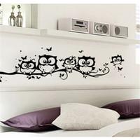 baykuş oda dekoru toptan satış-1 ADET ağaç hayvanlar yatak odası ev dekor oturma odası kelebek çocuk odaları için Baykuş Kelebek Duvar Sticker