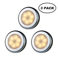 sensör dolabı ışığı toptan satış-WRalwaysLX PIR Hareket Sensörü LED Kabine Işık Çubuk-Anywhere Merdivenler koridor, dolap, Dolap için Nightlight (Sıcak Işık - Gümüş Shell 3adet)