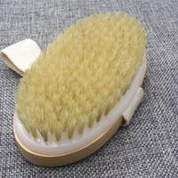 ahşap banyo fırçaları toptan satış-Yeni Kuru Cilt Vücut Yumuşak Doğal Kıl Fırça Ahşap Banyo Duş Kıl Fırça SPA Vücut Fırça Kolu Azgın olmadan temiz T2I5196