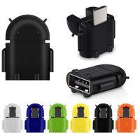 android smartphone-tastatur großhandel-Micro-USB-zu-USB-OTG-Adapter Android-Robot-Shape-OTG-Adapter für Smartphone, Mobiltelefon