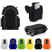 mikro usb otg flaş toptan satış-Mikro USB USB OTG Adaptörü Android Robot Şekil OTG Adaptörü akıllı telefon için, cep telefonu USB Flash Fare Klavye Bağlayın