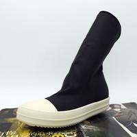 Wholesale calf high socks for sale - Group buy 4 New list wave socks sleeve head fashion shoes flat stretch nylon men high couple TPU bottom incense boots