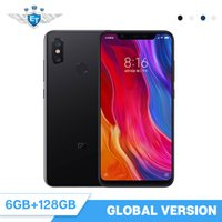 dual core telefon 4gb großhandel-Globale Version Xiaomi Mi 8 6 GB 128 GB Handy 6,21 Zoll AMOLED-Display Snapdragon 845 Octa Core Dualband GPS Dual Camera NFC