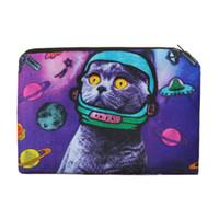 çanta kedi baskısı toptan satış-Muti-fonksiyonel Kadınlar Kozmetik Organizatör Çanta Hayvanlar 3D Baskı Kozmetik Kılıfı Uzay Kedi Taşınabilir Bayanlar Makyaj Saklama Çantası