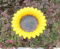 ingrosso piatti di fiori-3 pezzi di ghisa girasole piatto mangiatoie per uccelli ciotola di fiori acqua cibo per gli uccelli inserto in semi di suolo uccello mangiatoia alimentatore giardino giallo vintage
