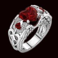 paare ringen rubin großhandel-Liebesrubinlegierungskupferringpaar solitarie Ringschmucksachezusätze des neuen heißen Verkaufsringes weiblichen Liebesrubin