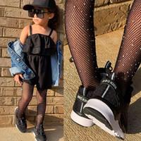 bling roupas de meninas venda por atacado-Meninas do verão roupas elegantes bebés meias leggings bebê preto botas oco para que bling vetement enfant fille