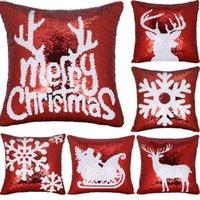 kar tanesi örtüsü toptan satış-40 * 40 cm Noel sequins yastık kılıfı Kar Taneleri geyik yastıkları yastık kılıfı yastık çekirdek olmadan Nokta çekirdek Kanepe pillowslip Minder kapak A04