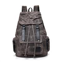 eski tuval deri dizüstü çantası toptan satış-Erkek Kanvas Deri Sırt Vintage Dizüstü daypacks Büyük Kapasiteli Kız / Erkek Öğrenci Okul Çantaları Büyük Sırt Çantası Retro Sırt Çantası