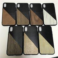 iphone kohlenstofffaserbeutel großhandel-Kohlefaser hybrid holzmaserung tpu case für iphone 6 7 8 plus xs max xr abdeckung case pouch