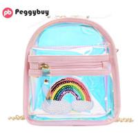 Wholesale kid s handbag for sale - Group buy Fashion Rainbow Pattern Laser Shoulder Handbags PVC Kid Clear Crossbody Bag Women s crossbody Laser Korean Style Bags Kids Bag