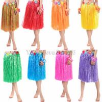 ingrosso danza fiore di plastica-60 cm di fibre di plastica ragazze donna hawaiana gonna di hula hula erba costume gonna fiore abito da ballo hula festa spiaggia alle hawaii