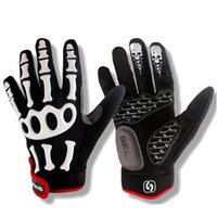 Wholesale skull cycling gloves resale online - New Cycling Gloves Brand Silicone GEL Full Finger Gloves Skull Bike Bicycle Men Anti Slip Sweat for MTB Riding Green White Black
