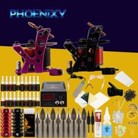 Wholesale black power tattoos for sale - Group buy Complete Tattoo Machine Kit Set Coils Guns Colors Black Pigment Sets Power Tattoo Beginner Grips Kits Permanent Makeup