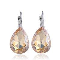 einzelne kristalle großhandel-Modische empfindliche österreichische Wassertropfen Kristall Ohrringe koreanische Ausgabe einfache einzelne Frauen Ohrringe Schmuck Ohrringe