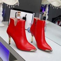 botas vermelhas de salto alto venda por atacado-Internacional de couro das mulheres designer de moda sapatos de salto alto inverno novo vermelho preto vestido de festa modelo de noiva sapatos 35-39 tamanho e altura 9 cm