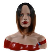 peinados de dama corta al por mayor-Moda de las mujeres Corto peluca de pelo recto Dama recta Corta peluca de la parte media del pelo para las mujeres pelucas sintéticas para los peinados