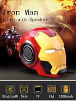 ferro móvel venda por atacado-Alto-falantes do telefone celular Bluetooth V4.2 Homem de Ferro Bluetooth Speaker Subwoofer Com FM Radio Suporte TF para o telefone PC Speaker