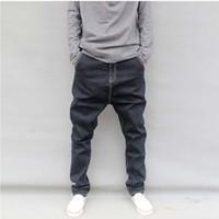verjüngte jeans männer hosen großhandel-Mode für Männer Jeans-Marken-beiläufige lose Joggers Denim-Hose Hip Hop Harem Jeans Schwarz Baggy Konische Hosen plus Größe M-6XL