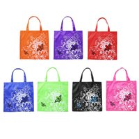 Wholesale butterfly travel bag resale online - Folding Oxford cloth Fashion Butterfly picture Floral Reusable Shopping Bag Travel Pocket Grocery Bags