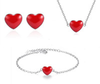 ingrosso piastre di cuore rosso-Gioielli di lusso a forma di cuore rosso ciondolo collana orecchini bracciale set fortunato designer placcato argento collane per le donne matrimonio partito