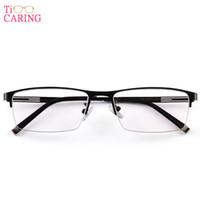 gafas de montura de titanio sin aro al por mayor-Aleación de titanio Marco de gafas Gafas Semi sin montura Ojo cuadrado Cristal Anteojos recetados Miopía Marcos ópticos
