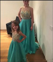 Wholesale floor length mother daughter dress for sale - Group buy Pearl Beading Long Prom Dresses with sleeveless A Line floor Length Formal evening Wears Mother And Daughter Dresses