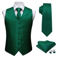 ingrosso fazzoletto di seta quadrato-Mens Classic verde Solid Jacquard folral seta Gilet Gilet Fazzoletto Cravatta vestito della maglia Pochette Set Desingers T200117